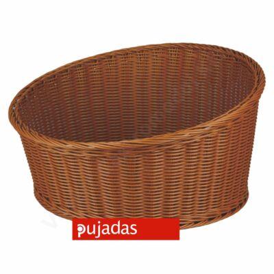 P100.752 Polirattan kenyérkosár (kerek,ferde) sötét barna átm:36cm