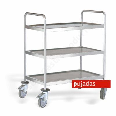 Hegesztett rozsdamentes tálalókocsi 3 szintes Pujadas P80270