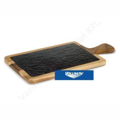 Szögletes pala kínálólap akácfa tartóban nyéllel 26x18cm |Vollrath| P28.610