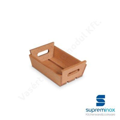 02001 Mini szervírozó kosár fogantyúval fából 15x10x5 cm